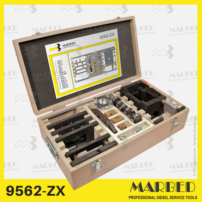 Modular system for 1-2-3-4 cyl Zexel camshaftless pumps to be applied on any test bench for diesel fuel injection pumps. This configuration is supplied in one wooden box.